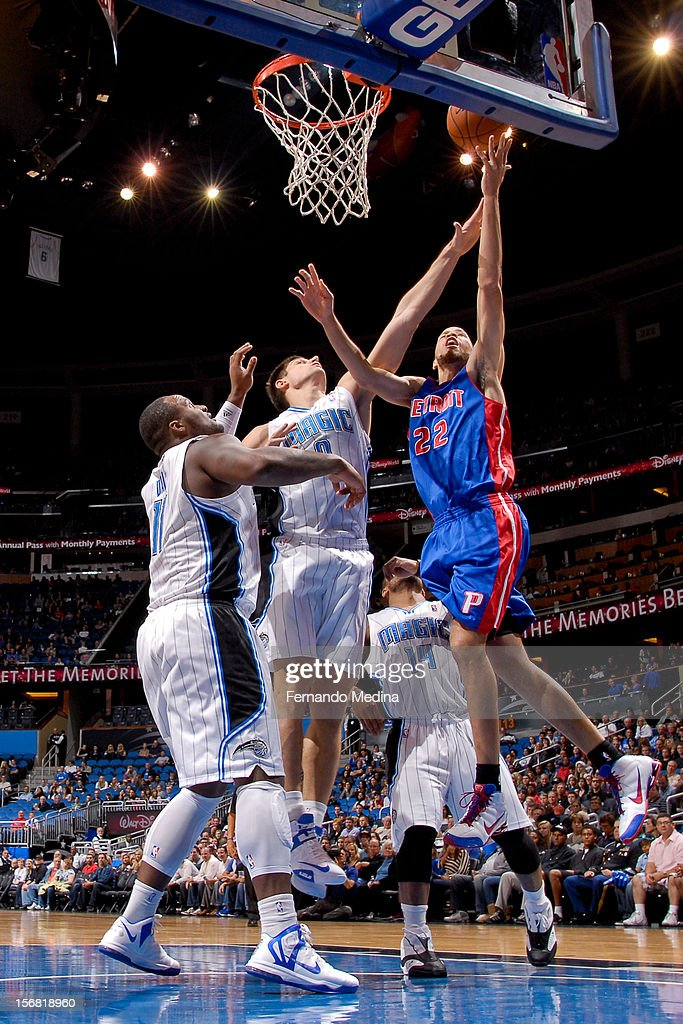 Tayshaun Prince #22 of the Detroit Pistons shoots a layup against Nikola Vucevic #9 of the Orlando Magic on November 21, 2012 at Amway Center in Orlando, Florida.