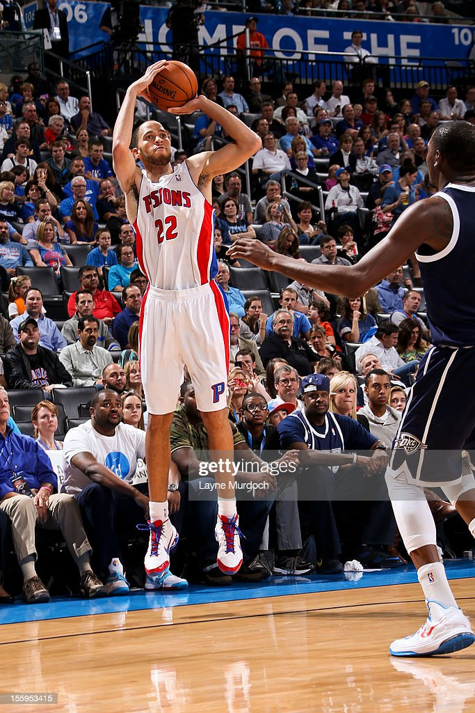 <a gi-track='captionPersonalityLinkClicked' href=/galleries/search?phrase=Tayshaun+Prince&family=editorial&specificpeople=201553 ng-click='$event.stopPropagation()'>Tayshaun Prince</a> #22 of the Detroit Pistons shoots a three-pointer against the Oklahoma City Thunder on November 9, 2012 at the Chesapeake Energy Arena in Oklahoma City, Oklahoma.