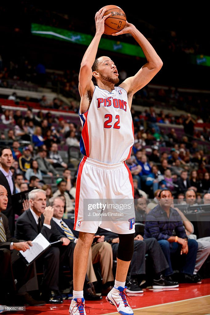 <a gi-track='captionPersonalityLinkClicked' href=/galleries/search?phrase=Tayshaun+Prince&family=editorial&specificpeople=201553 ng-click='$event.stopPropagation()'>Tayshaun Prince</a> #22 of the Detroit Pistons shoots a three-pointer against the Charlotte Bobcats on January 6, 2013 at The Palace of Auburn Hills in Auburn Hills, Michigan.