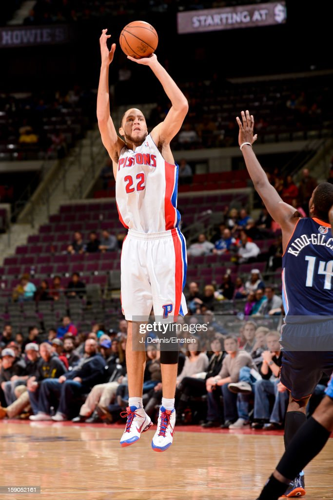 Tayshaun Prince #22 of the Detroit Pistons shoots a three-pointer against the Charlotte Bobcats on January 6, 2013 at The Palace of Auburn Hills in Auburn Hills, Michigan.