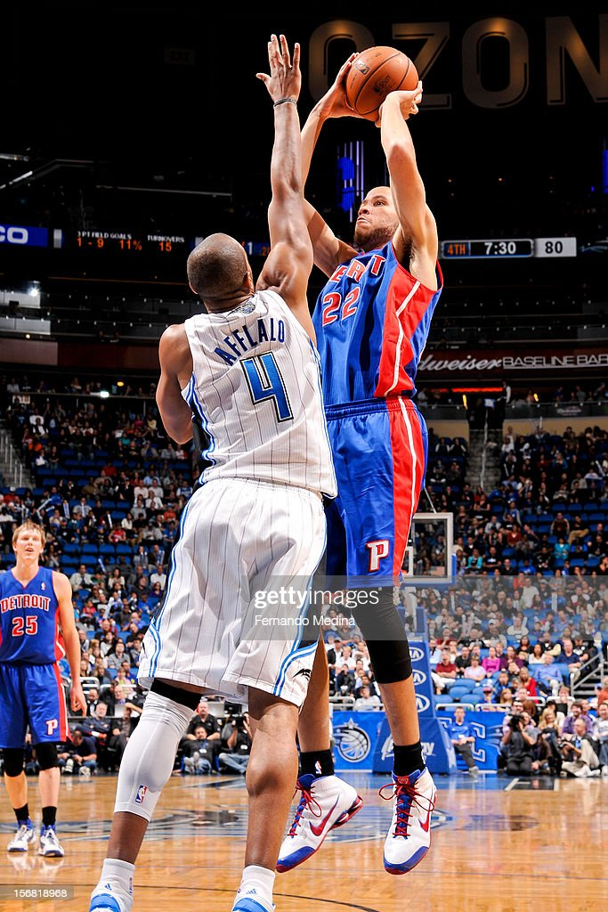 Tayshaun Prince #22 of the Detroit Pistons shoots against Arron Afflalo #4 of the Orlando Magic on November 21, 2012 at Amway Center in Orlando, Florida.
