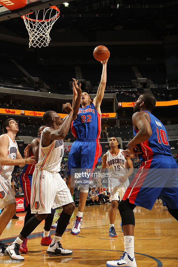 <a gi-track='captionPersonalityLinkClicked' href=/galleries/search?phrase=Tayshaun+Prince&family=editorial&specificpeople=201553 ng-click='$event.stopPropagation()'>Tayshaun Prince</a> #22 of the Detroit Pistons shoots against <a gi-track='captionPersonalityLinkClicked' href=/galleries/search?phrase=Bismack+Biyombo&family=editorial&specificpeople=7640443 ng-click='$event.stopPropagation()'>Bismack Biyombo</a> #0 of the Charlotte Bobcats at the Time Warner Cable Arena on April 12, 2012 in Charlotte, North Carolina.