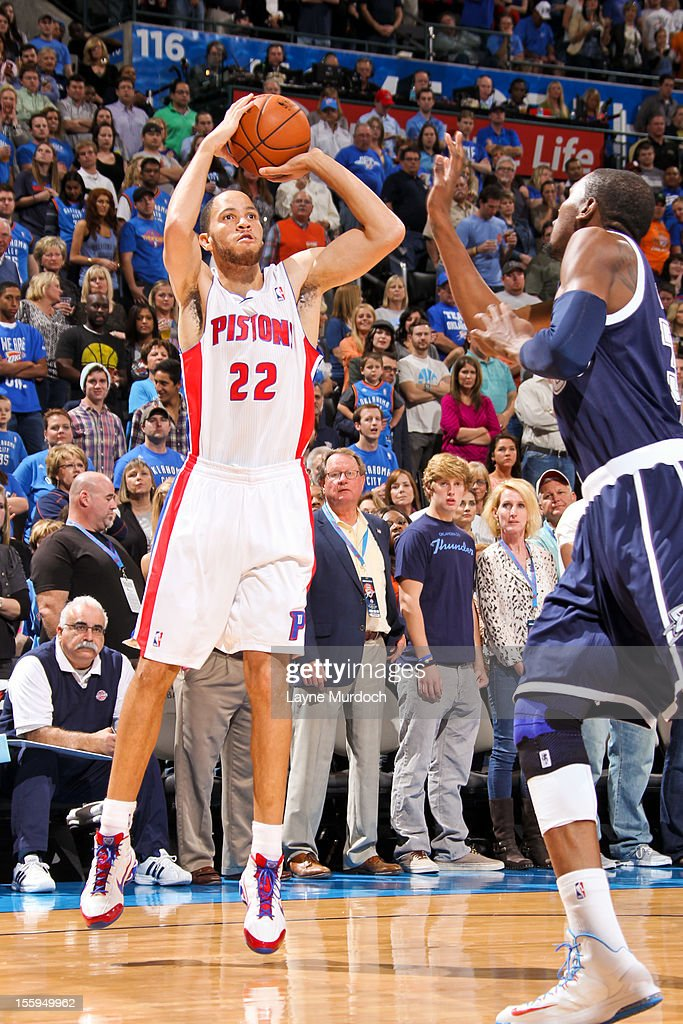 Tayshaun Prince #22 of the Detroit Pistons shoots against Kevin Durant #35 of the Oklahoma City Thunder on November 9, 2012 at the Chesapeake Energy Arena in Oklahoma City, Oklahoma.