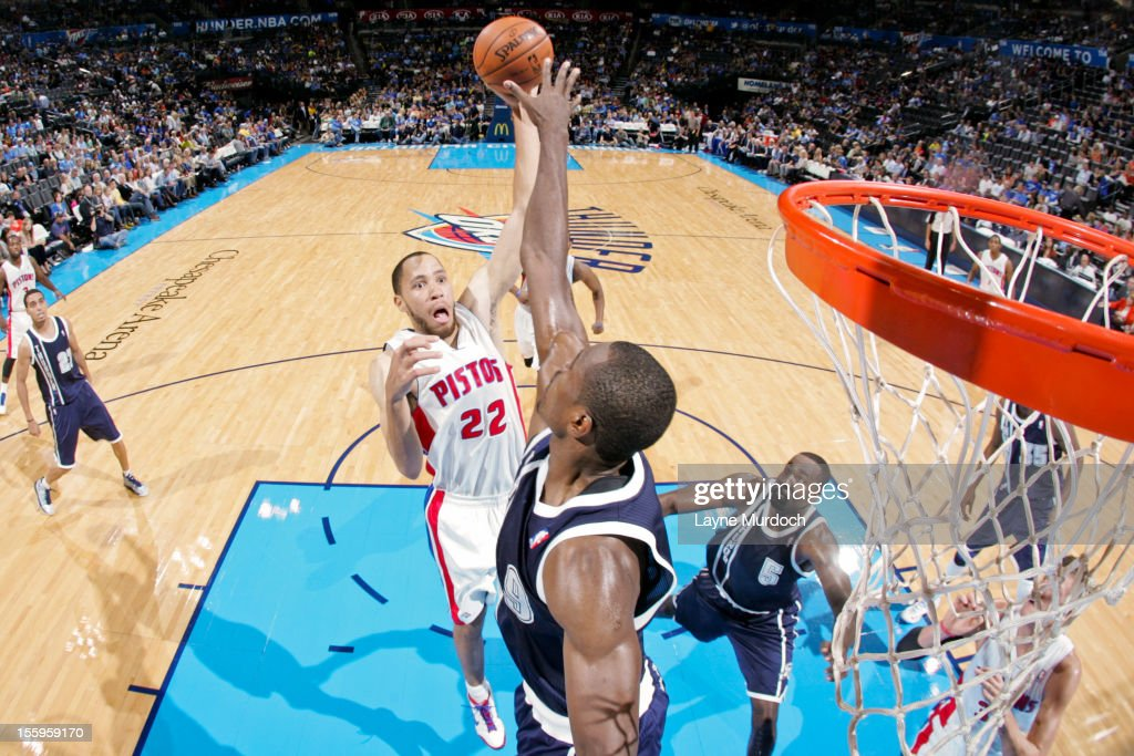 <a gi-track='captionPersonalityLinkClicked' href=/galleries/search?phrase=Tayshaun+Prince&family=editorial&specificpeople=201553 ng-click='$event.stopPropagation()'>Tayshaun Prince</a> #22 of the Detroit Pistons shoots against <a gi-track='captionPersonalityLinkClicked' href=/galleries/search?phrase=Serge+Ibaka&family=editorial&specificpeople=5133378 ng-click='$event.stopPropagation()'>Serge Ibaka</a> #9 of the Oklahoma City Thunder on November 9, 2012 at the Chesapeake Energy Arena in Oklahoma City, Oklahoma.