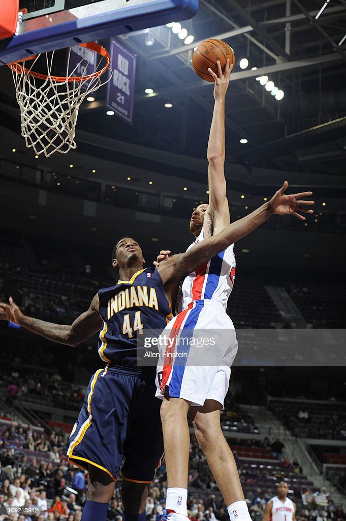 <a gi-track='captionPersonalityLinkClicked' href=/galleries/search?phrase=Tayshaun+Prince&family=editorial&specificpeople=201553 ng-click='$event.stopPropagation()'>Tayshaun Prince</a> #22 of the Detroit Pistons shoots against <a gi-track='captionPersonalityLinkClicked' href=/galleries/search?phrase=Solomon+Jones&family=editorial&specificpeople=821993 ng-click='$event.stopPropagation()'>Solomon Jones</a> #44 of the Indiana Pacers in a game on February 16, 2011 at The Palace of Auburn Hills in Auburn Hills, Michigan.