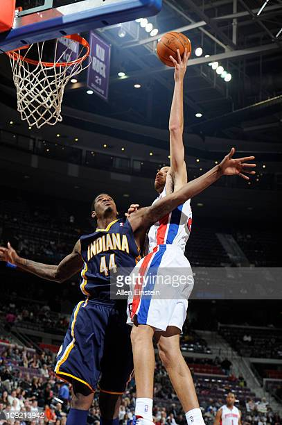 Tayshaun Prince of the Detroit Pistons shoots against Solomon Jones of the Indiana Pacers in a game on February 16 2011 at The Palace of Auburn Hills...