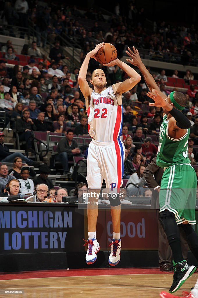 Tayshaun Prince #22 of the Detroit Pistons shoots against the Boston Celtics on January 20, 2013 at The Palace of Auburn Hills in Auburn Hills, Michigan.