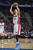 Tayshaun Prince of the Detroit Pistons shoots against the Cleveland Cavaliers during the game on February 24 2015 at The Palace of Auburn in Hills in...