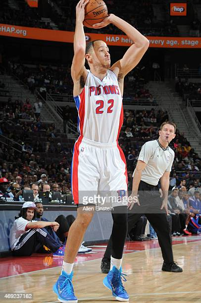 Tayshaun Prince of the Detroit Pistons shoots against the Indiana Pacers during the game on April 10 2015 at The Palace of Auburn in Detroit Michigan...