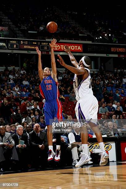 Tayshaun Prince of the Detroit Pistons shoots the ball over Dominic McGuire of the Sacramento Kings on February 23 2010 at ARCO Arena in Sacramento...