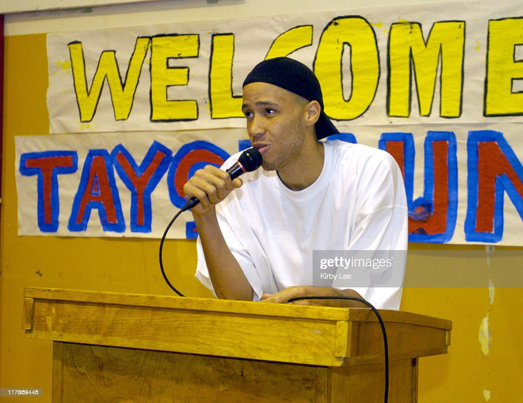 Tayshaun Prince of the Detroit Pistons speaks during a visit to his alma mater Dominguez High School on Monday June 7 2004