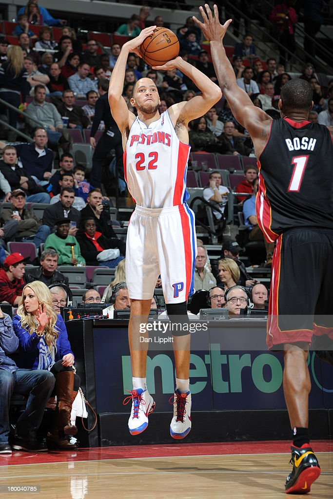<a gi-track='captionPersonalityLinkClicked' href=/galleries/search?phrase=Tayshaun+Prince&family=editorial&specificpeople=201553 ng-click='$event.stopPropagation()'>Tayshaun Prince</a> #22 of the Detroit Pistons takes a shot against the Miami Heat on December 28, 2012 at The Palace of Auburn Hills in Auburn Hills, Michigan.