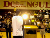 Tayshaun Prince of the Detroit Pistons talks to students at his alma mater Dominguez High during in an assembly at the school's gym on Monday June 7...