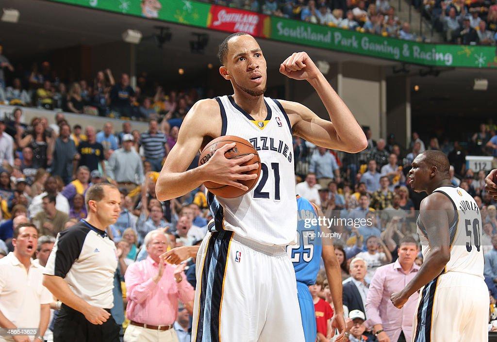 Tayshaun Prince of the Memphis Grizzlies celebrates against the Oklahoma City Thunder in Game Three of the Western Conference Quarterfinals during...