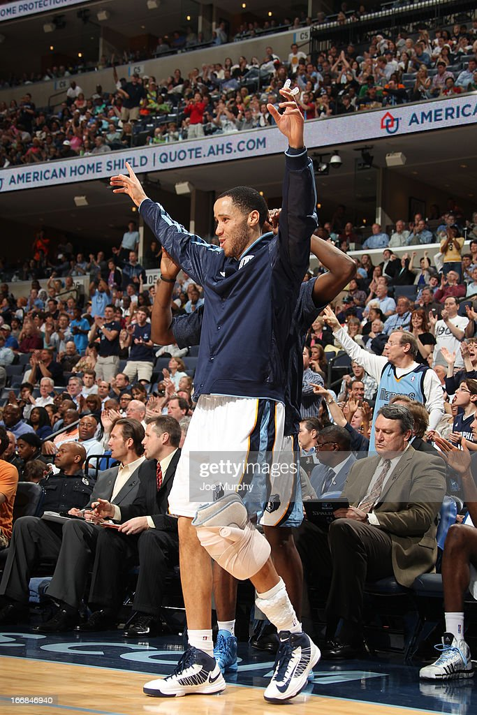 Tayshaun Prince #21 of the Memphis Grizzlies celebrates from the bench against the Utah Jazz on April 17, 2013 at FedExForum in Memphis, Tennessee.