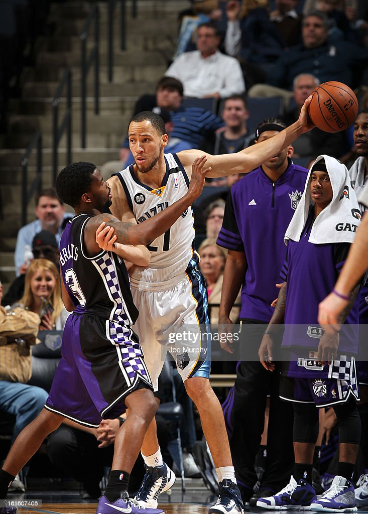 <a gi-track='captionPersonalityLinkClicked' href=/galleries/search?phrase=Tayshaun+Prince&family=editorial&specificpeople=201553 ng-click='$event.stopPropagation()'>Tayshaun Prince</a> #21 of the Memphis Grizzlies controls the ball against Aaron Brooks #3 of the Sacramento Kings on February 12, 2013 at FedExForum in Memphis, Tennessee.
