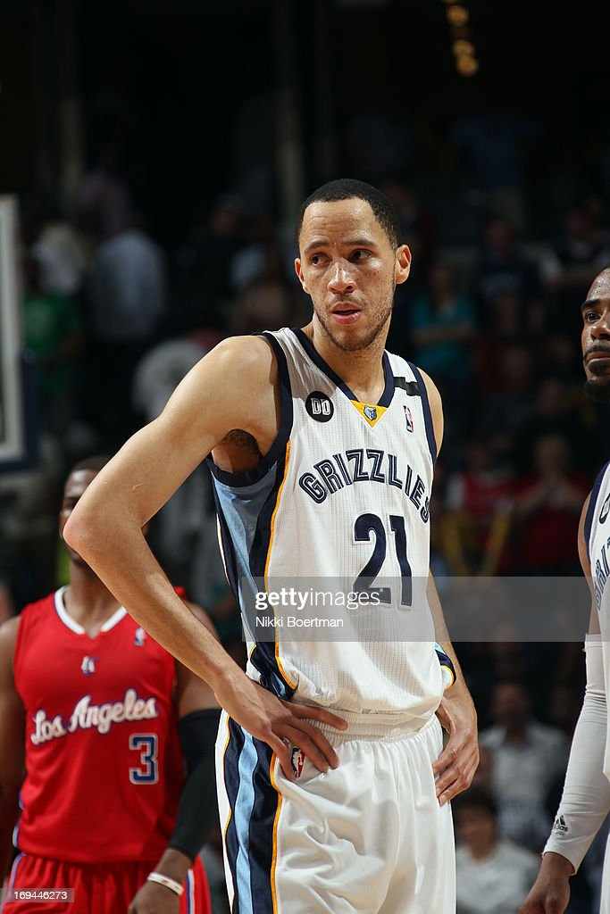 <a gi-track='captionPersonalityLinkClicked' href=/galleries/search?phrase=Tayshaun+Prince&family=editorial&specificpeople=201553 ng-click='$event.stopPropagation()'>Tayshaun Prince</a> #21 of the Memphis Grizzlies looks on against the Los Angeles Clippers on April 13, 2013 at FedExForum in Memphis, Tennessee.