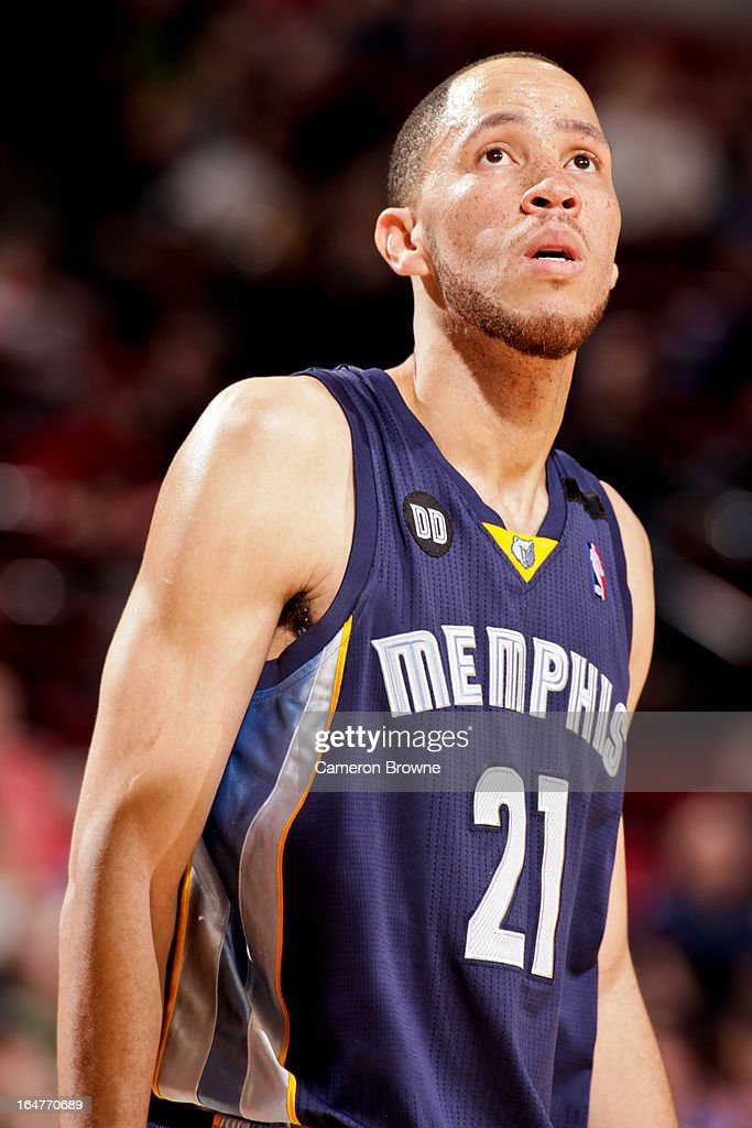 <a gi-track='captionPersonalityLinkClicked' href=/galleries/search?phrase=Tayshaun+Prince&family=editorial&specificpeople=201553 ng-click='$event.stopPropagation()'>Tayshaun Prince</a> #21 of the Memphis Grizzlies looks on during a game against the Portland Trail Blazers on March 12, 2013 at the Rose Garden Arena in Portland, Oregon.
