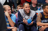 Tayshaun Prince of the Memphis Grizzlies rests on the bench against the Sacramento Kings on November 30 2014 at Sleep Train Arena in Sacramento...