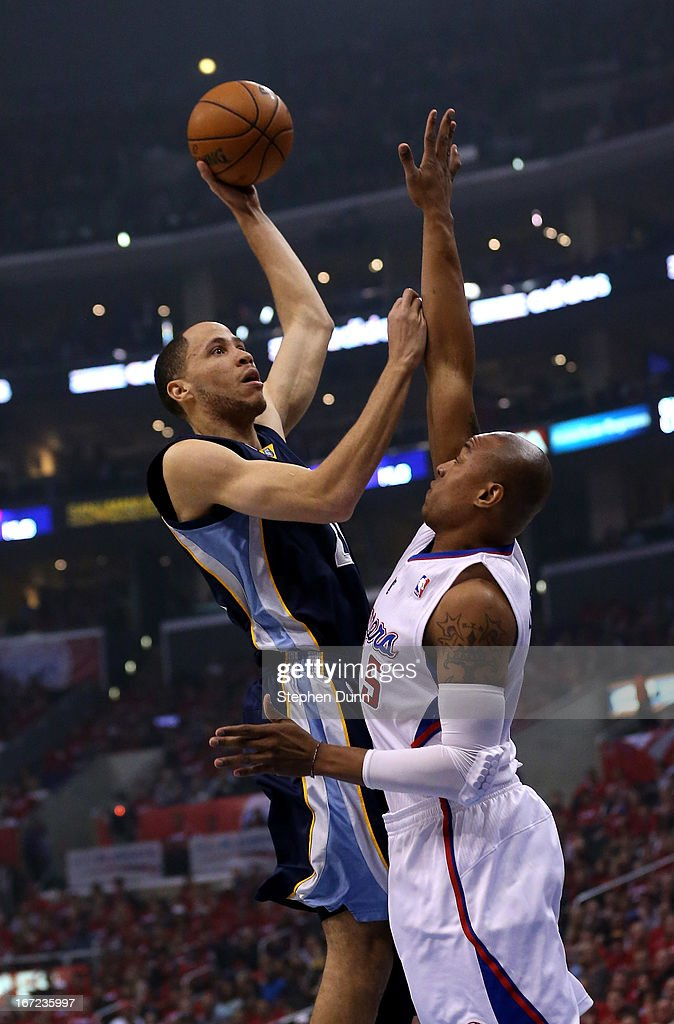 Tayshaun Prince #21 of the Memphis Grizzlies shoots over Caron Butler #5 of the Los Angeles Clippers during Game Two of the Western Conference Quarterfinals of the 2013 NBA Playoffs at Staples Center on April 22, 2013 in Los Angeles, California.