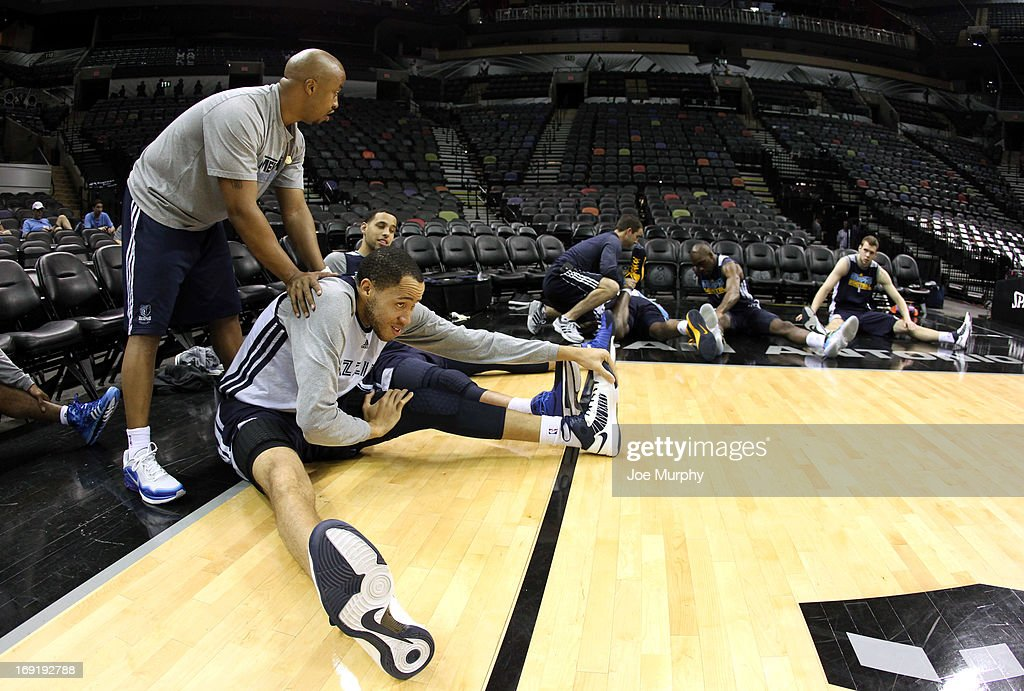 Tayshaun Prince #21 of the Memphis Grizzlies stetches before team practice during the Western Conference Finals during the 2013 NBA Playoffs on May 20, 2013 at the AT&T Center in San Antonio, Texas.
