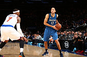 Tayshaun Prince of the Minnesota Timberwolves handles the ball during the game against the New York Knicks on December 16 2015 at Madison Square...