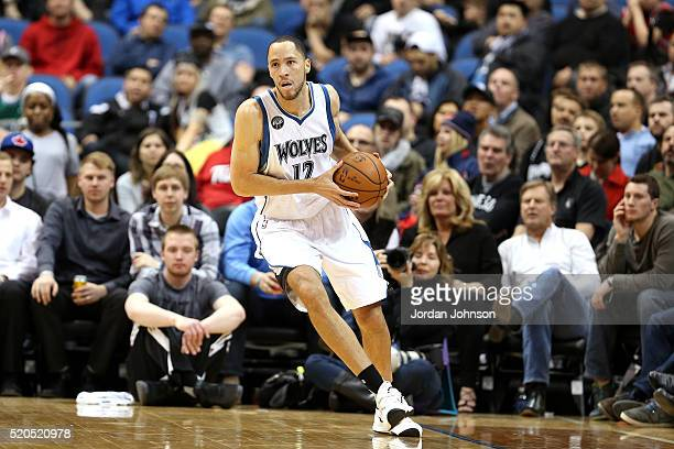 Tayshaun Prince of the Minnesota Timberwolves handles the ball during the game against the Houston Rockets on April 11 2016 at Target Center in...