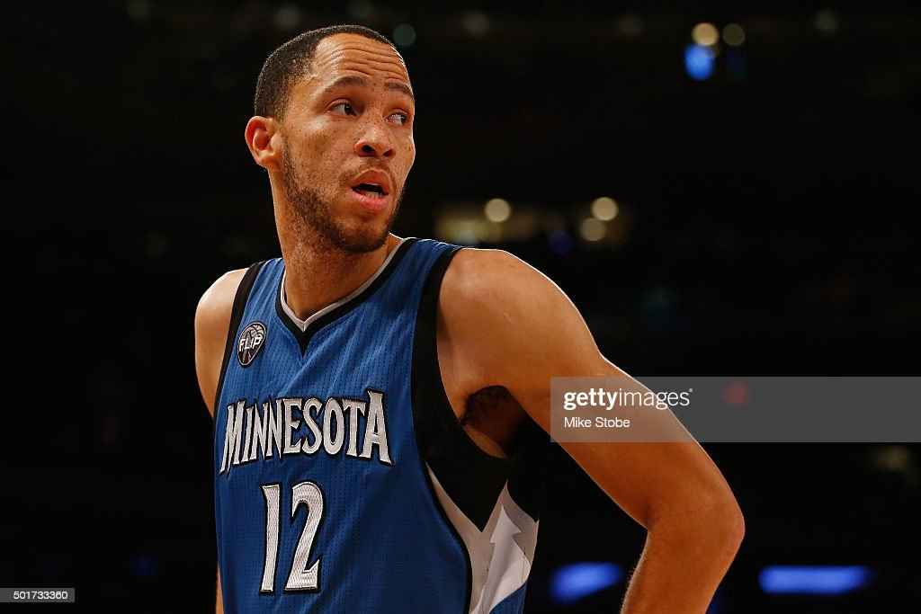 Tayshaun Prince of the Minnesota Timberwolves in action against the New York Knicks at Madison Square Garden on December 16 2015 in New York City The...