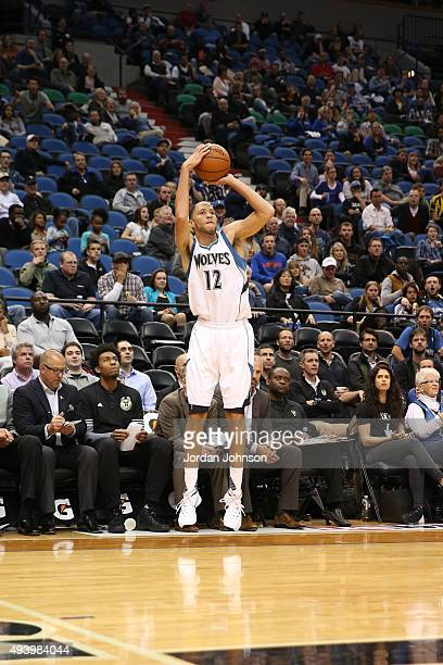 Tayshaun Prince of the Minnesota Timberwolves shoots the ball against the Milwaukee Bucks during a preseason game on October 23 2015 at Target Center...