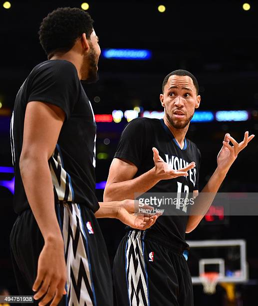 Tayshaun Prince reacts to a lost possession with KarlAnthony Towns during the first quarter against the Los Angeles Lakers at Staples Center on...