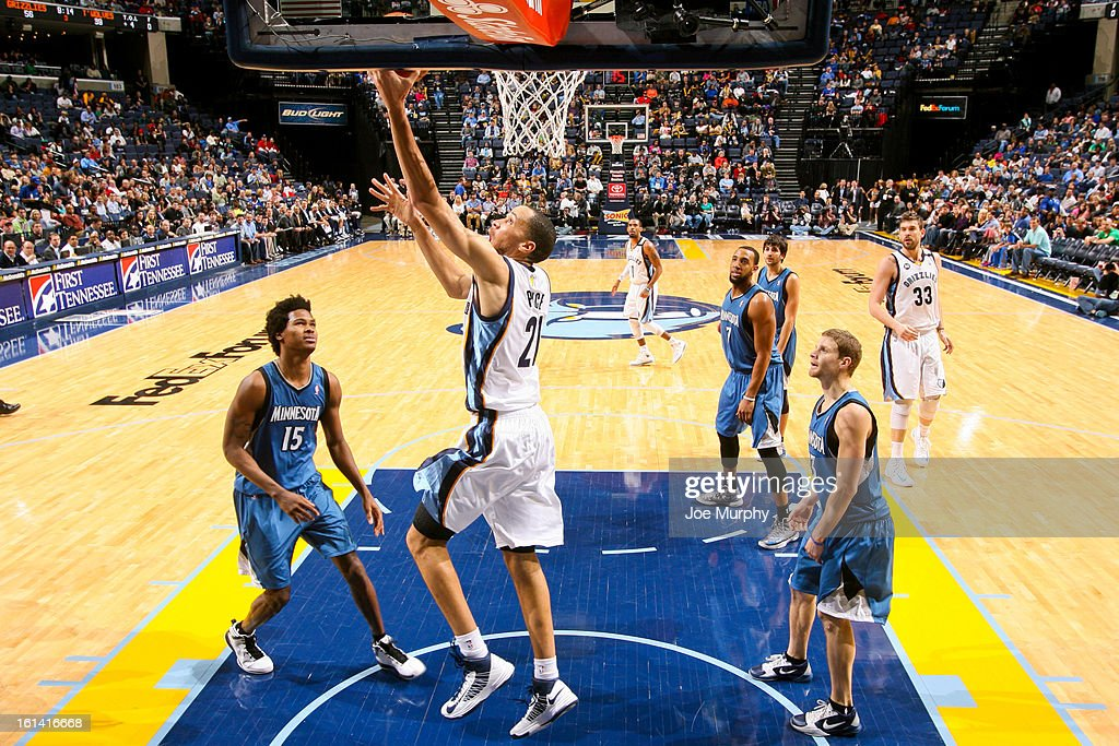 <a gi-track='captionPersonalityLinkClicked' href=/galleries/search?phrase=Tayshaun+Prince&family=editorial&specificpeople=201553 ng-click='$event.stopPropagation()'>Tayshaun Prince</a> #21of the Memphis Grizzlies shoots a reverse layup against the Minnesota Timberwolves on February 10, 2013 at FedExForum in Memphis, Tennessee.