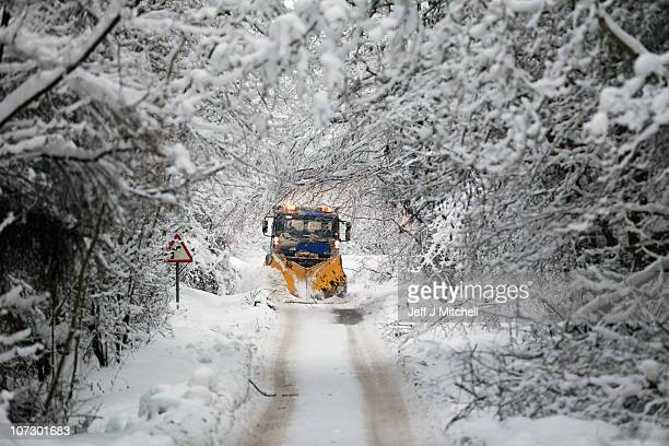 Tayside Contracts plough driver Iain Beedie clears rural roads in Perthshire on December 3 2010 in Perth Scotland After heavy snowfall across the...