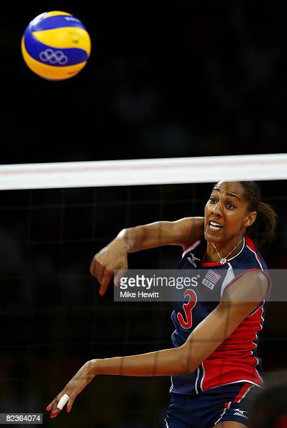 Tayyiba HaneefPark of the United States spikes the ball against China during their volleyball match at the Capital Indoor Stadium on Day 7 of the...