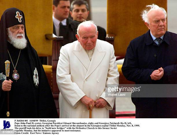 Tbilisi Georgia Pope John Paul Ii Center Georgian President Eduard Shevardnadze Right And Georgian Patriarch Ilia Ii Left Listen To The National...