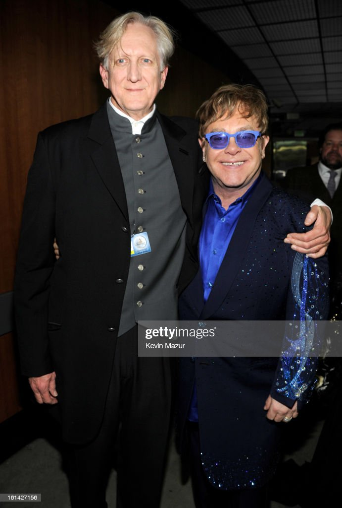 T-Bone Burnett and Elton John attend the 55th Annual GRAMMY Awards at STAPLES Center on February 10, 2013 in Los Angeles, California.