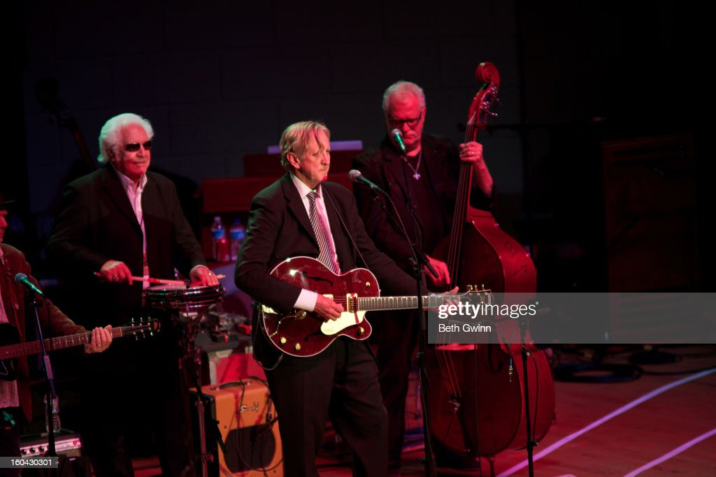 <a gi-track='captionPersonalityLinkClicked' href=/galleries/search?phrase=T-Bone+Burnett&family=editorial&specificpeople=234573 ng-click='$event.stopPropagation()'>T-Bone Burnett</a> performs during the Tribute to Cowboy Jack Clement at War Memorial Auditorium on January 30, 2013 in Nashville, Tennessee.