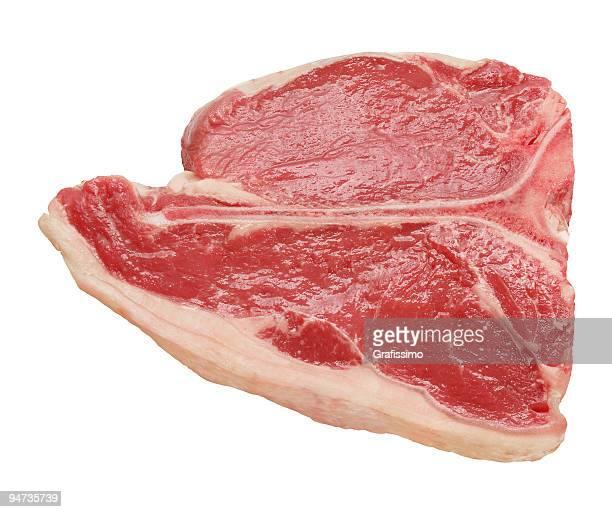 T-Bone steak isolato su sfondo bianco