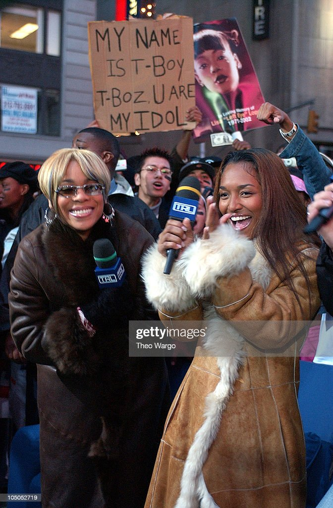 TBoz and Chilli of TLC during 'Spankin' New Music Week' on MTV's 'TRL' November 6 2002 at MTV Studios Times Square in New York New York United States