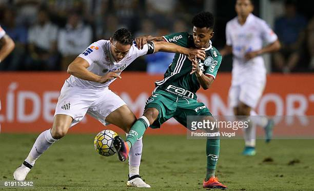 Tche Tche of Palmeiras fights for the ball with Ricardo Oliveira of Santos during the match between Santos and Palmeiras for the Brazilian Series A...