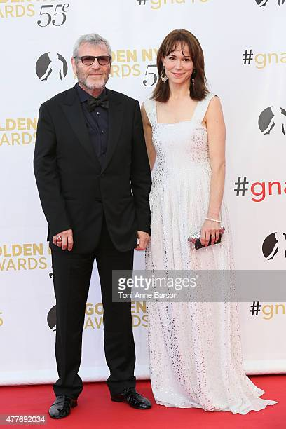 Tcheky Karyo and Frances O'Connor attend the 55th Monte Carlo TV Festival Closing Ceremony and Golden Nymph Awards at the Grimaldi Forum on June 18...