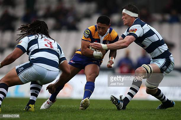 Te Aihe Toma of the Bay of Plenty Steamers runs with the ball during the ITM Cup match between Bay of Plenty and Auckland on September 13 2014 in...