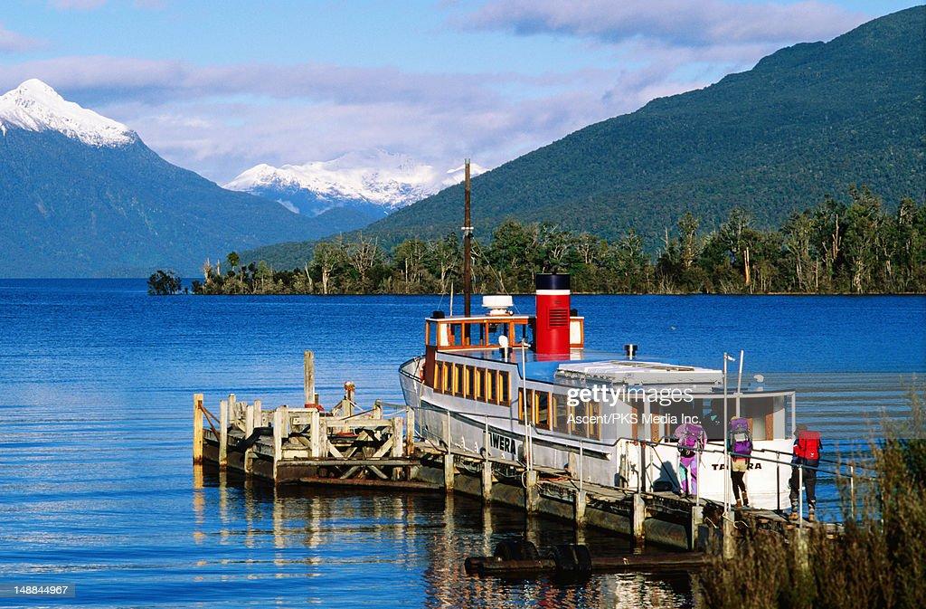 Te Anau ferry on the lake.