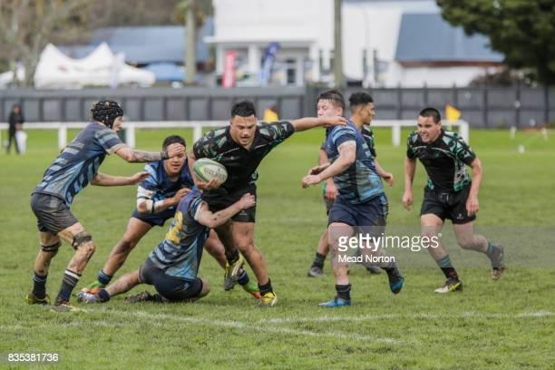 Te Aparua Zaha from Te Wharekura o Mauao getting tackled during the Bethlehem Coachlines Baywide Secondary School Rugby match between Western Heights...