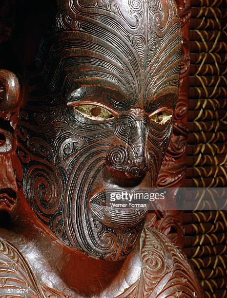 Te Hau Ki Turanga meeting house built by the Ngati Kaipoho tribe in 1842 Detail of the portrait figure of Raharuhi Rukupo the chief responsible for...
