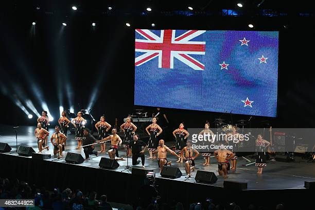 Te Hononga O Nga Iwi perform during the Opening Ceremony ahead of the ICC 2015 Cricket World Cup at the Myer Music Bowl on February 12 2015 in...