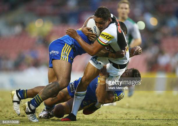 Te Maire Martin of the Panthers is tackled during the NRL Trial match between the Penrith Panthers and Parramatta Eels at Pepper Stadium on February...