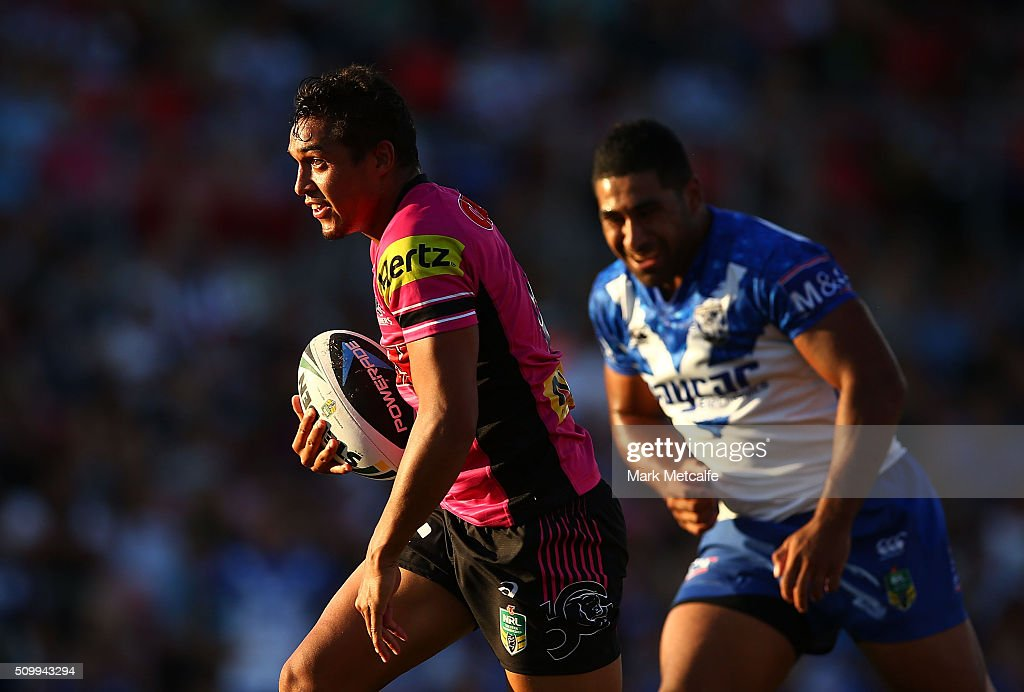 Te Maire Martin of the Panthers makes a break during the NRL Trial match between the Canterbury Bulldogs and the Penrith Panthers at Pepper Stadium on February 13, 2016 in Sydney, Australia.