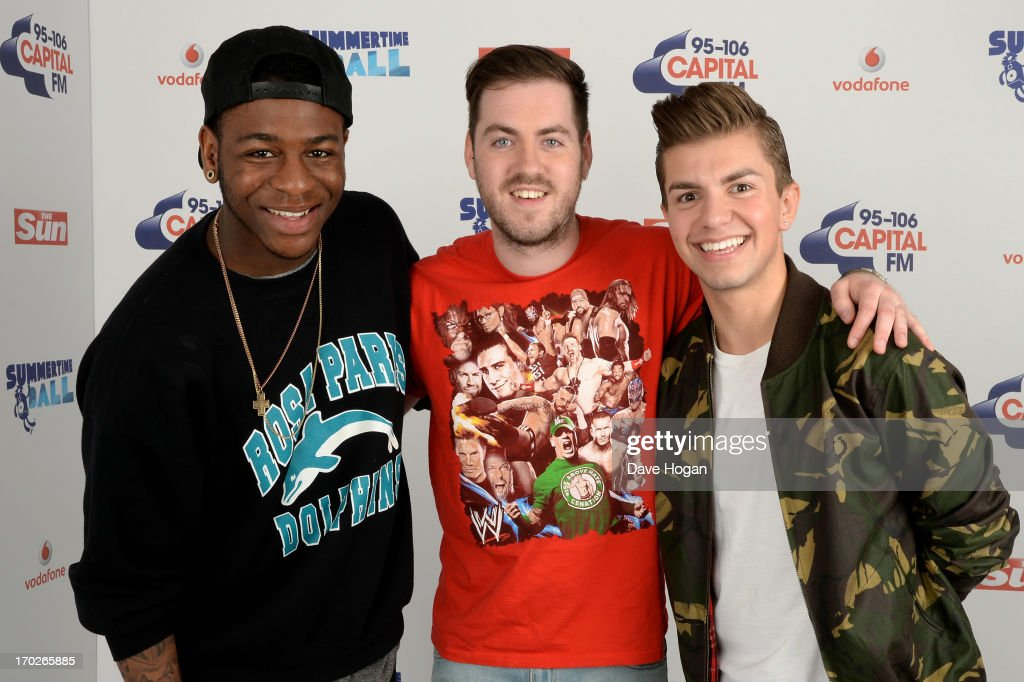 Te Qhairo Eugene, Eddie Brett and Sonny Jay Muharrem of Loveable Rogues pose in a backstage studio during the Capital Summertime Ball at Wembley Stadium on June 9, 2013 in London, England.