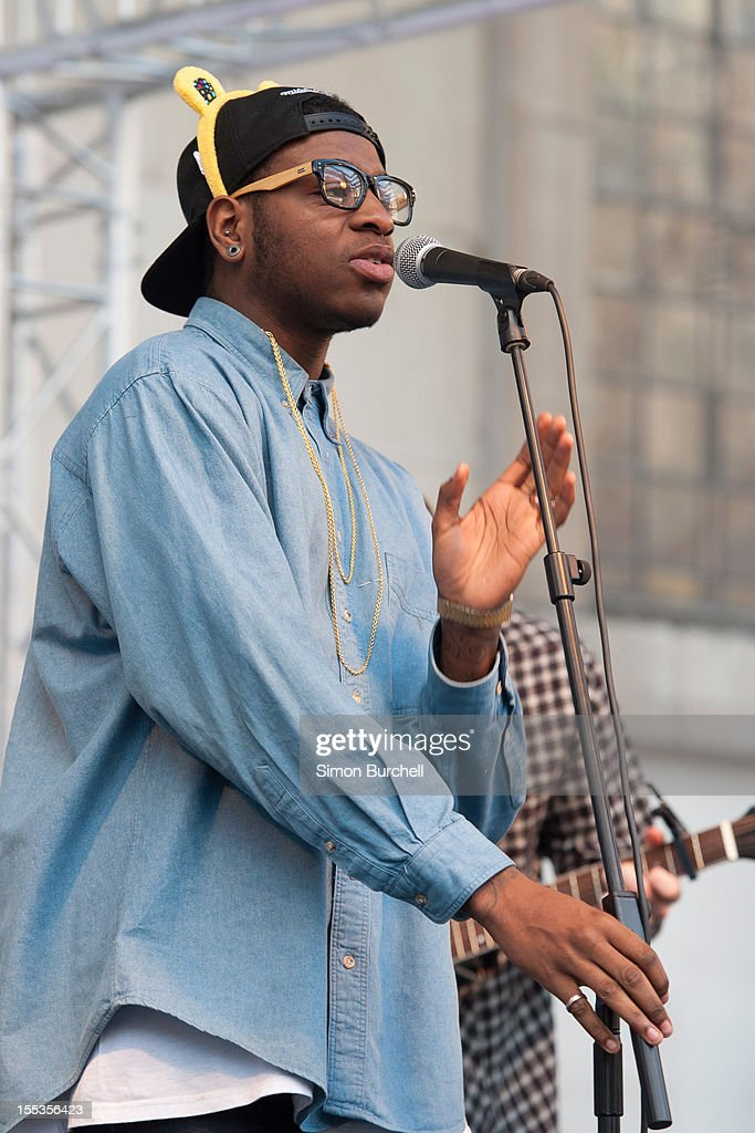 Te Qhario Eugene of The Loveable Rogues performs at the BBC Children In Need Pudsey Street event at Covent Garden on November 3, 2012 in London, England.