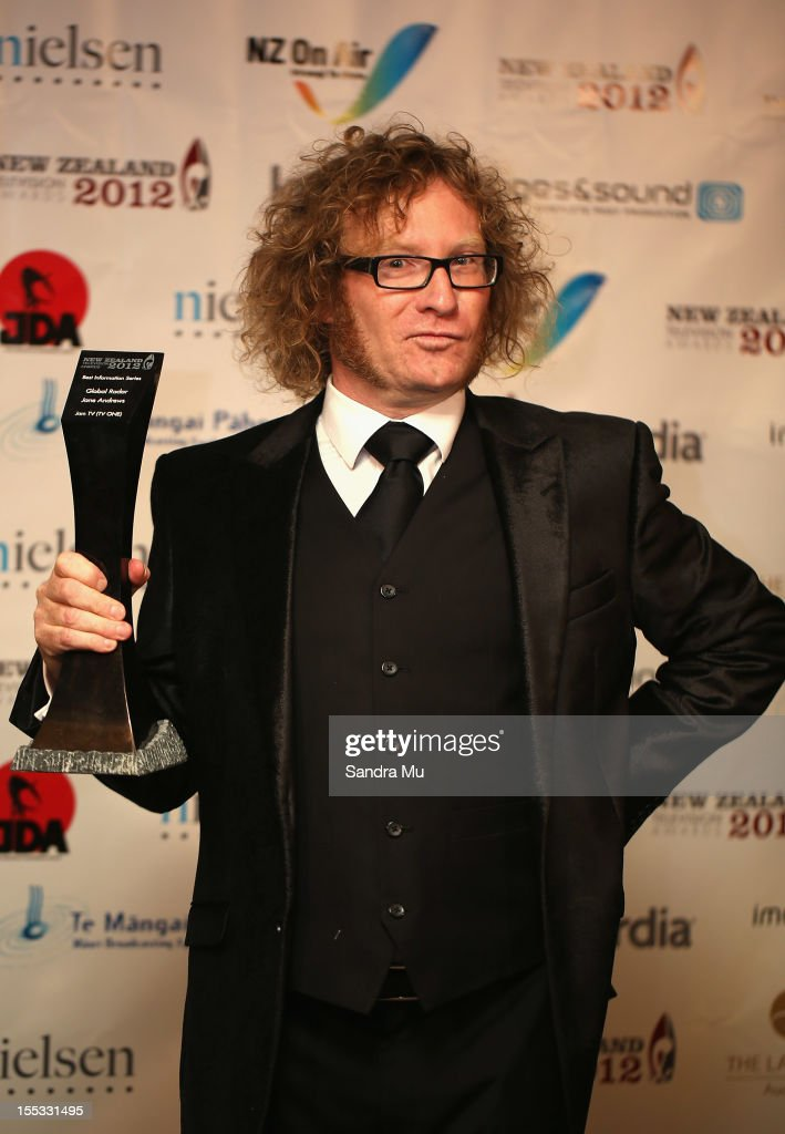 Te Radar of Global Radar poses with his award for Best Information Series during the New Zealand Television Awards at the Langham Hotel on November 3, 2012 in Auckland, New Zealand.